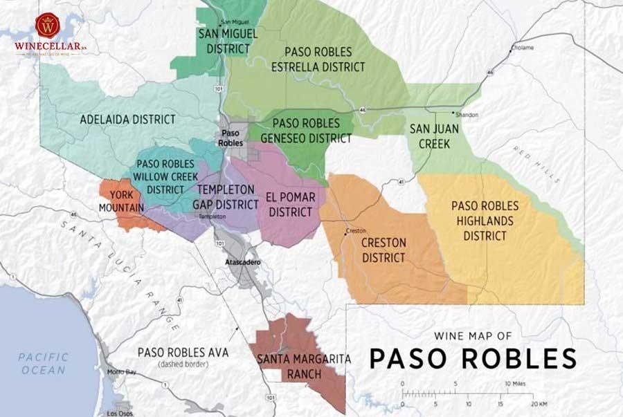Bản đồ các tiểu vùng rượu vang tại Paso Robles