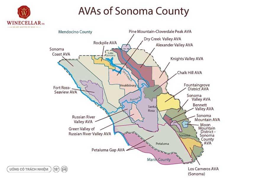 Ảnh 2: Các AVA tại Sonoma County