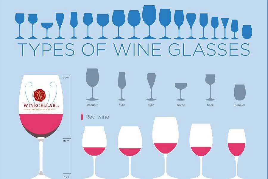 Ảnh 2: Các loại ly rượu vang phổ biến