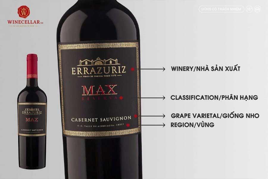 Ảnh 2: Nhãn chai rượu vang Tân Thế Giới - Max Reserva Cabernet Sauvignon