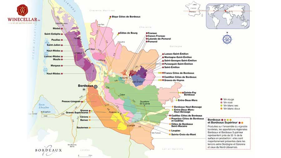 Ảnh 1: bản đồ các tiểu vùng rượu vang tại Bordeaux