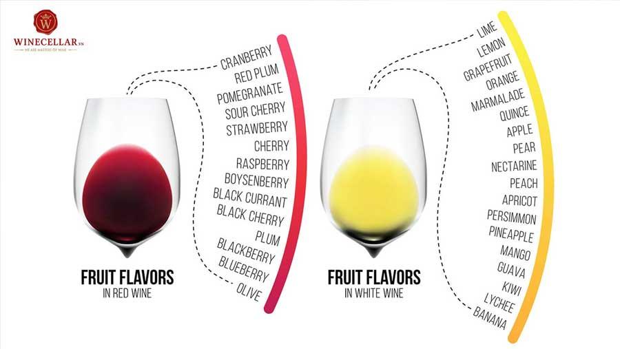 Ảnh 2: Các hương vị đặc trưng của rượu vang đỏ và rượu vang trắng