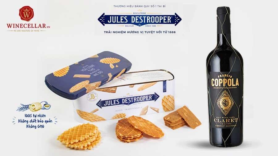 Rượu vang Mỹ Diamond Claret và hộp bánh quy Jules' Traditionals