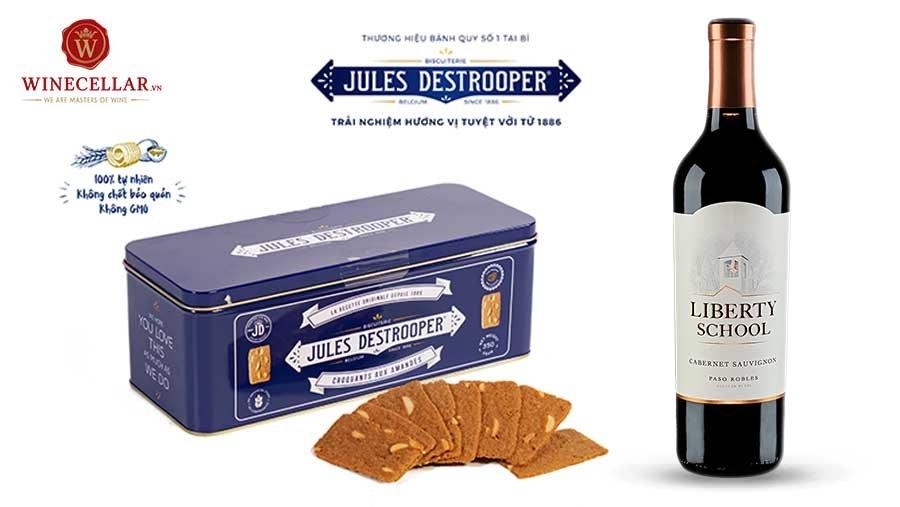 Rượu vang Mỹ Liberty School Cabernet Sauvignon & hộp bánh quy Jules Destrooper Almond Thins