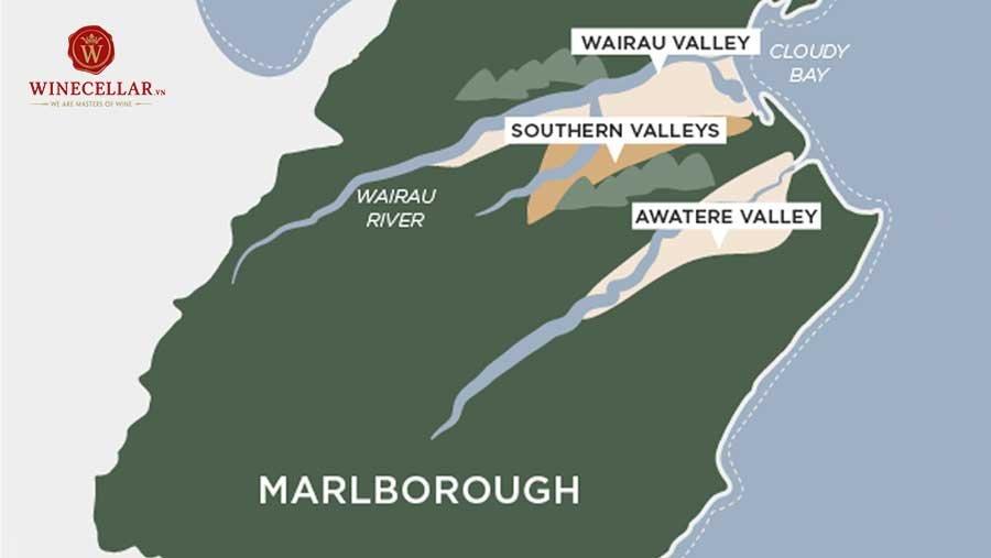 Bản đồ vùng rượu vang Marlborough