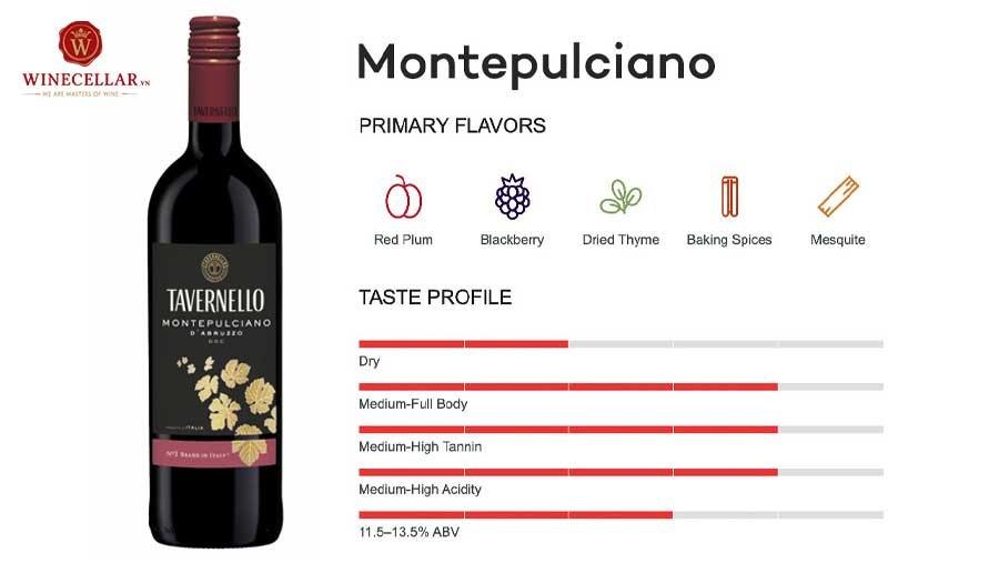 tổng quan hương vị rượu vang Montepulciano
